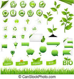sammlung, von, eco, elemente