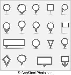 sammlung, von, einfache , graue , landkarte, markierungen
