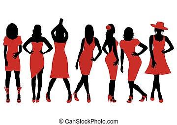 sammlung, von, frauen, silhouetten, in, rotes kleid