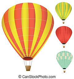 sammlung, von, freigestellt, luftballone