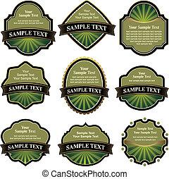 sammlung, von, grün, etiketten