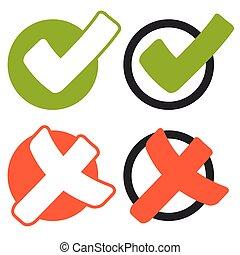 sammlung, von, kreuz, und, haken, -, grün, und, rotes