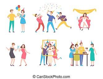 sammlung, von, leute, feiern, geburstag, -, kuchensessen, machen, gruppieren foto, singende, trinken, cocktails., wohnung, karikatur, charaktere, freigestellt, weiß, hintergrund., bunte, vektor, illustration.