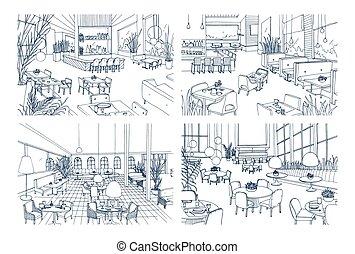 Sammlung Von Monochrom Zeichnungen Cafe Innere Mit