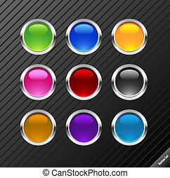 sammlung, von, runder , glänzend, vektor, buttons.,...