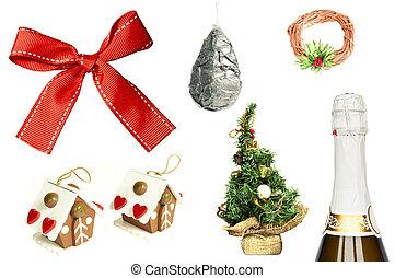 sammlung, von, weihnachten neues jahr, posten, freigestellt, weiß, hintergrund