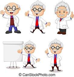sammlung, wissenschaftler, glücklich, satz, karikatur