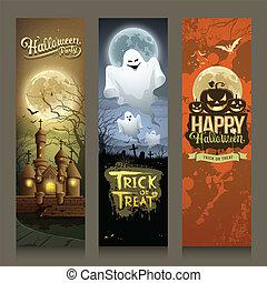 sammlungen, halloween, banner, tag