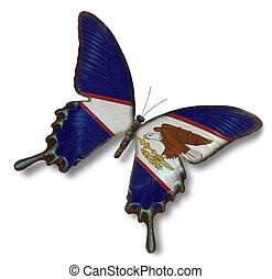 samoa americana, bandera, en, mariposa