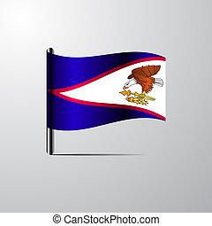 samoa, americano, bandeira acenando, vetorial, desenho, brilhante