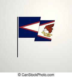 samoa, americano, bandeira acenando, vetorial, desenho, fundo