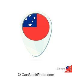 Samoa flag location map pin icon on white background.