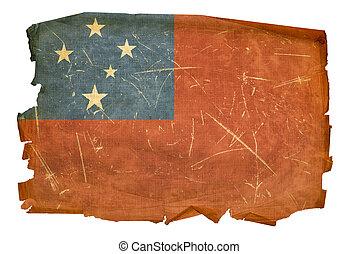 Samoa Flag old, isolated on white background.