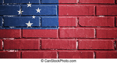Samoa flag on brick wall