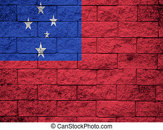 samoa Flag on the old wall texture