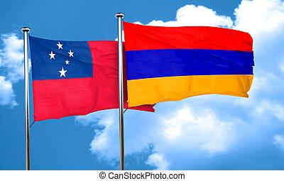 Samoa flag with Armenia flag, 3D rendering