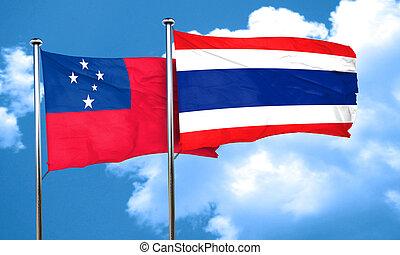 Samoa flag with Thailand flag, 3D rendering