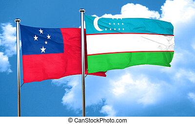 Samoa flag with Uzbekistan flag, 3D rendering