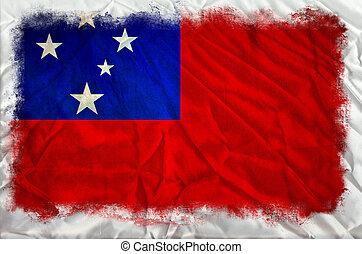 Samoa grunge flag