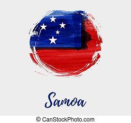 samoa, grunge, redondo, bandeira