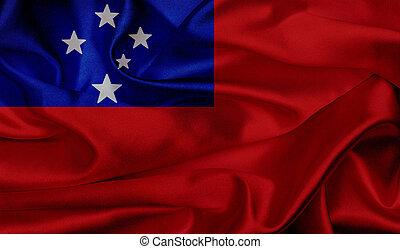 Samoa grunge waving flag