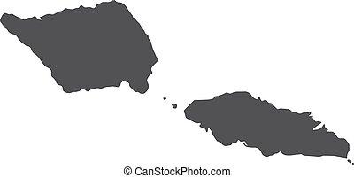 Samoa map in black on a white background. Vector illustration