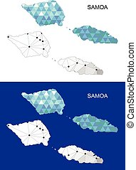 Samoa map in geometric polygonal.