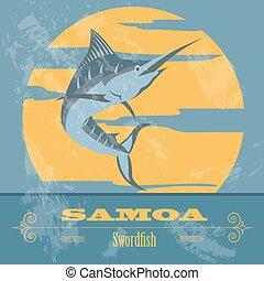 samoa., swordfish., denominado, image., retro