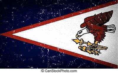 samoa, szkło, złamany, amerykanka, wektor, bandery, texture.