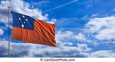 Samoa waving flag on blue sky. 3d illustration
