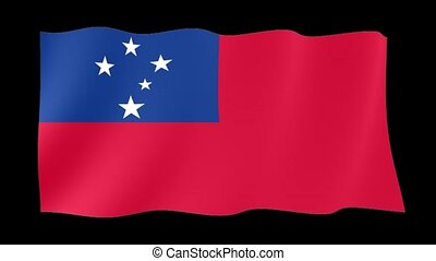 Samoan flag . Waving