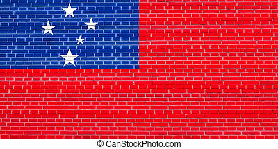 Flag of Samoa on brick wall texture background