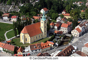 Samobor - city in Croatia, aerial view.