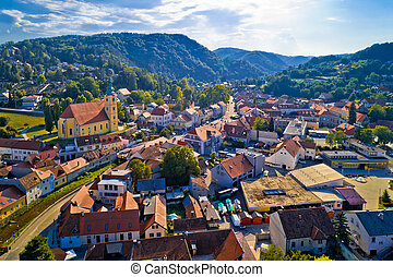 Samobor cityscape and surrounding hills aerial view, northern Croatia