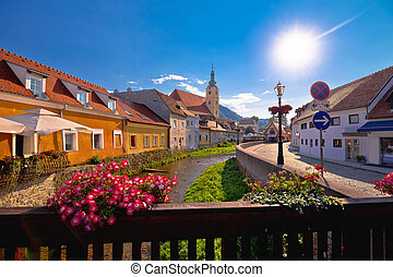 Samobor river and old streets view, town in northern Croatia