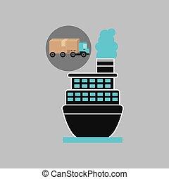 samochód dostawy, statek, pojęcie, kontener