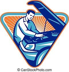 samochód, mechanik, naprawa, wóz, retro