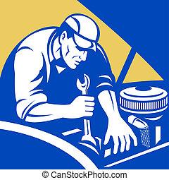 samochód, robotnik wozu, naprawa
