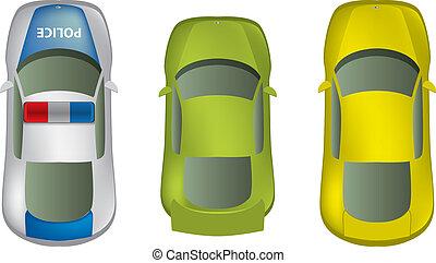 samochody, górny, komplet, różny, prospekt