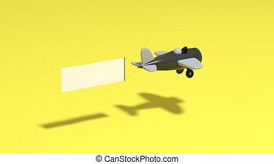 samolot, 3d, reklama, przedstawienie, chorągiew