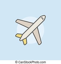 samolot, barwny, ikona