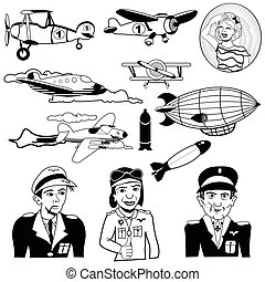 samolot, czarnoskóry, ikony