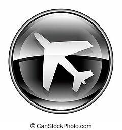 samolot, ikona, czarnoskóry, odizolowany, na białym, tło.