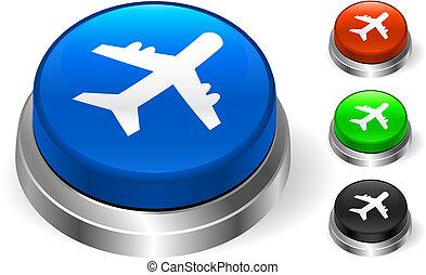 samolot, ikona, na, internet, guzik