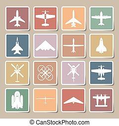 samolot, komplet, ikony