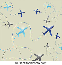 samolot, marszruty, ilustracja