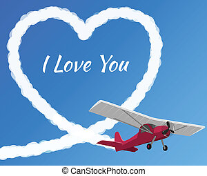 samolot, miłość, rysunek, pochmurny