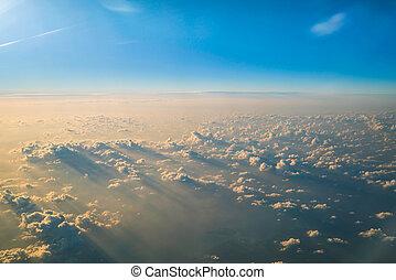 samolot, niebo, obejrzany, chmury