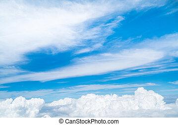 samolot, obejrzany, niebo, chmury
