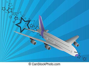 samolot pasażerski, blu